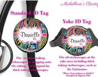 Personalized Stethoscope ID tag, Paisley Stethoscope Id Tag, Stethoscope Name Id tag,Stethoscope Name Tag, MB375