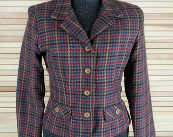 Vintage 80s multi-color cropped blazer jacket black green red tan checked plaid petite size 8 S small chest 38 USA