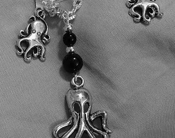 Octopus's Garden in the Shade Jewelry Set - Single Sided Octopus Necklace with Onyx Spheres - Small Octopus Earrings - AspenTreeJewelry