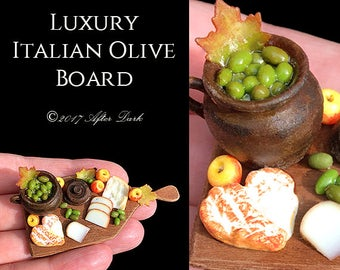 Rustic Tuscan Olive Pot Display - Fine Artisan Pottery - Artisan fully Handmade Miniature in 12th scale. From After Dark miniatures.
