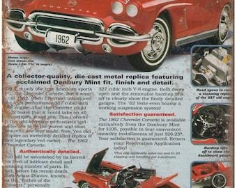 """1962 Chevrolet Corvette Vintage Print Ad 10"""" x 7"""" Reproduction Metal Sign"""