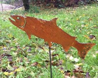 Salmon Jumping, X Large 15 inches long, rusted metal art