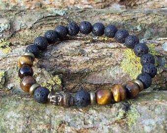 Mens bracelet, Men, Gift, Men's bracelet, Man's bracelet, Onyx bracelet, Buddha, gift, for him, Buddha's head, Buddha Bracelet