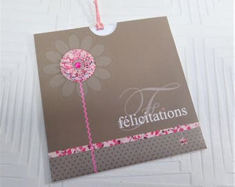 CARD of congratulations with embossed flower and its envelope