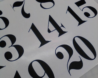 """Wedding Table Numbers 1-15 Vinyl Sticker Decals 2.5""""h x 3""""w Numbers (Black Only, Font 4)"""