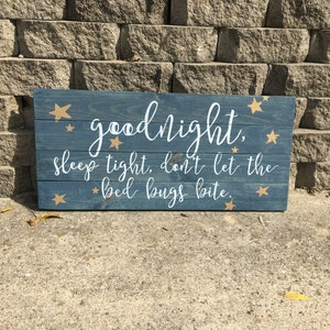Goodnight Sleep Tight Dont Let The Bed Bugs Bite Quote Wall Hanging Wood Custom