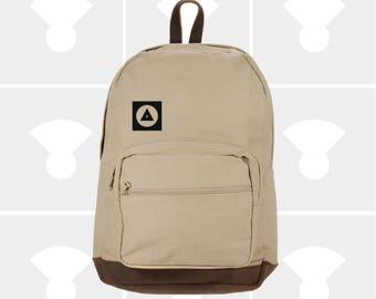 Bauhaus Shapes - Leather Bottom Laptop Backpack