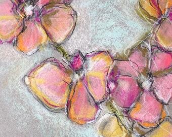 Pink Orchids Original Pastel Art
