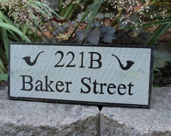 221B Baker Street Distressed Wooden Sign - Made to Order