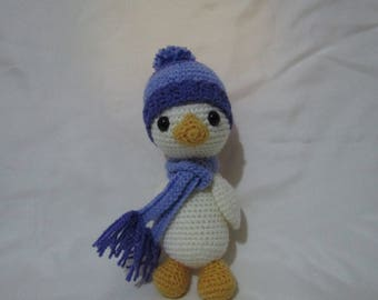 Amigurumi Duck with scarf and hat plush