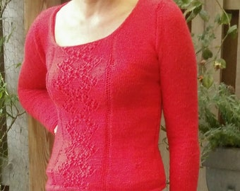Knitting Pattern for Sweater with Lace Pattern Sizes S-M-L-XL-XXL