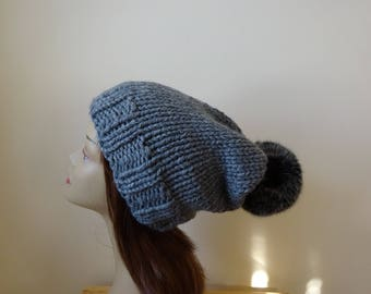 Knit Slouch Hat Faux Fur Pompom Warm Acrylic Winter Hat in Oxford Grey with Black Pompom - Ready to Ship - Gift for Her