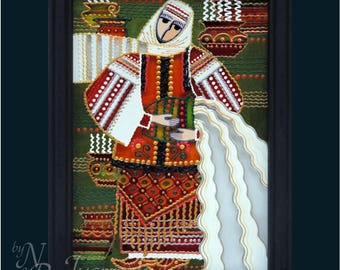 Ukrainian Folk, traditional Painting on glass Hand made Framed, Painted glass, Wall decor  14x20 cm