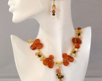 Burnt Orange, Yellow and Brown Gemstone Dangling Cascading Necklace FREE Matching Earrings