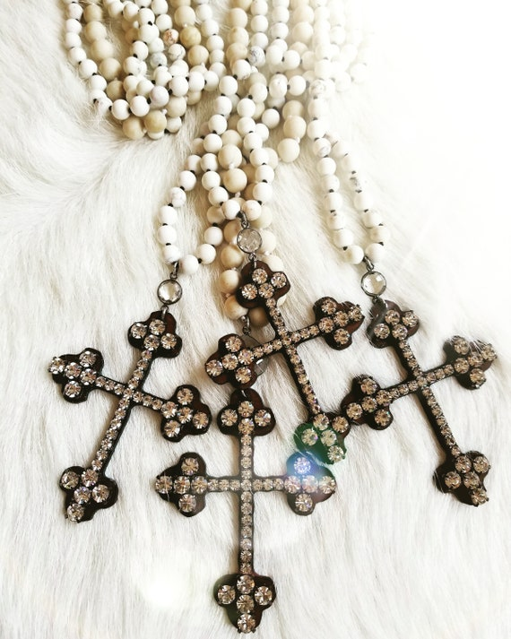 Long, Stone Beaded and Rhinestone Cross Necklaces