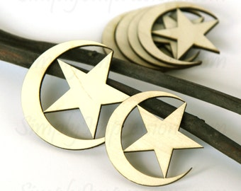 Moon and Star wood cutout- Pack of 5