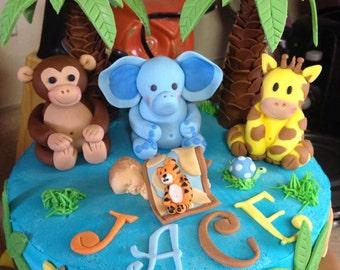 Fondant jungle theme cake toppers