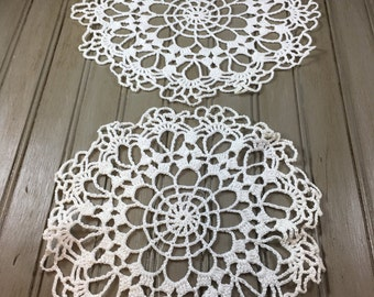Vintage Set of 6 Crocheted Doilies