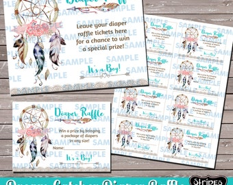 Diaper Raffle-Boho Diaper Raffle-Tribal Baby Shower-Dream Catcher Party- Print your own-Instant Download-Baby Shower-Boho Baby Shower Games
