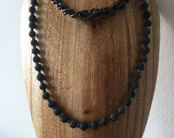 Lava beads attached with hematite chain necklace