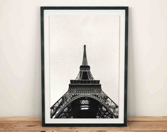 Eiffel Tower Print, Paris Wall Decor, Paris Photo Black and White, Paris Black Print, Black Print, Printable Black and White Photos, Travel