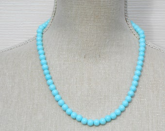 Handmade turquoise pearl necklace, turquoise gift, turquoise weddings, turquoise bridesmaid, bridesmaid gift, birthday gift, Christmas gift