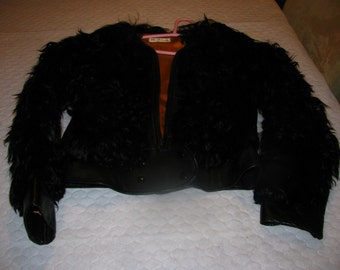 Vintage Woodwards Label - black leather and persian lamb jacket - RARE ;