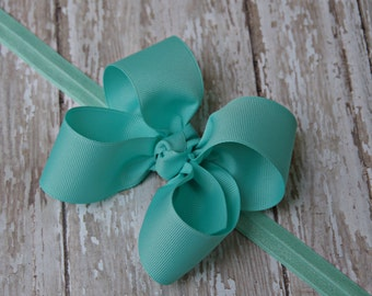 Boutique Aqua Headband Aqua Big Bow Headband Aqua Baby Headband Aqua Toddler Headband Large Bow Headband New Baby Gift