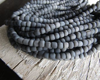 grey glass seed Beads,  opaque matte tone, ethnic  small tube barrel spacer, indonesia, New Indo-pacific 3 to 6mm / 22 inch strd - 7ab29-23
