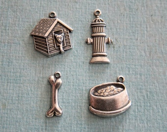 4 Silver Dog Charms 2820