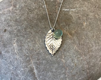 Leaf - sterling silver leaf charm necklace with prehnite gem