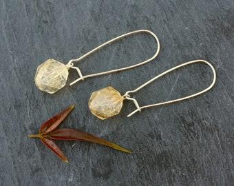Citrine earrings, November gift, November birthstone, November birthday, yellow earrings, long earrings, gemstone earrings, gemstone jewelry