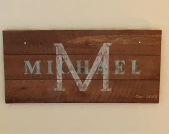 Large Wood Sign with Last name and Year Established