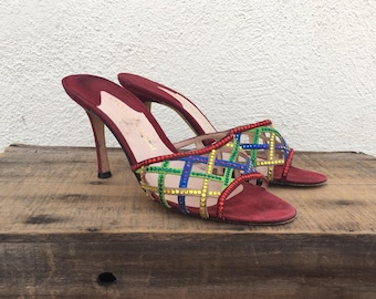90s Rainbow Mules High Heels Swarovski Crystals Red Suede Slippers High Fashion Italian Woven Ladies Size 9.5
