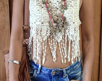 Lace Crop Top with Jelly Fish Fringe/ Boho Lace Fringe/Festival Lace Top/Beach Clothing/Lace Ivory Fringe top/