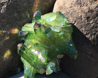 Beautiful Green Flame Aura Quartz