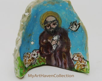 Saint Francis of Assisi Tiny Art,Miniature Sheeps-Tiny Art,St Francis Figurine,St Francis Painted Art,Catholic Icon,Small  St Francis Statue