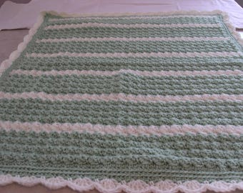 Green & white Baby afghan