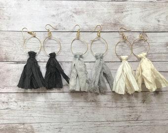 Tassel Earrings, Sari Silk Tassel Earrings, Boho Tassel Earrings. Black. Cream. Gray. Gold.