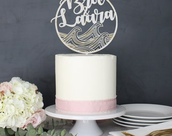 Personalized Modern Rustic Waves Beach Wedding Cake Topper | Custom Name