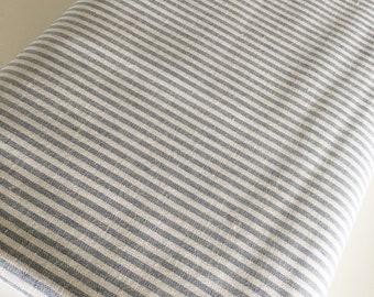 Essex Linen Classic Yarn Dyed Wovens, Linen Blend fabric,  Apparel Fabric, Dress fabric, 1/8 inch Striped Linen, Essex Woven Stripe Chambray