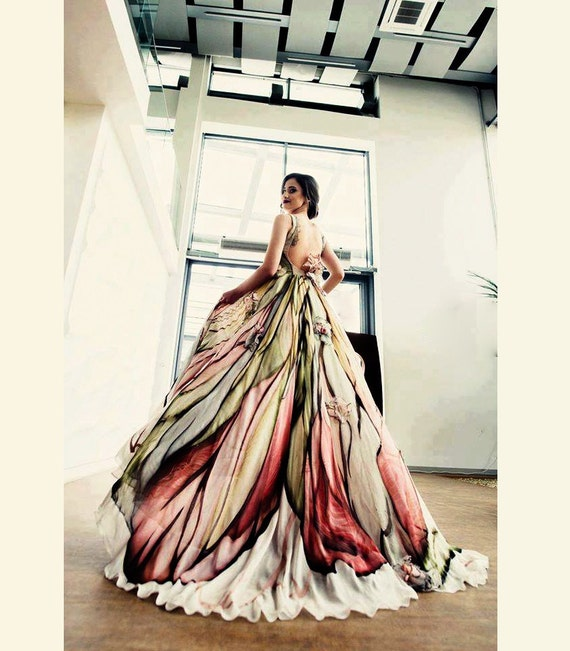 Long Mother of the bride dress Hand painted silk dress