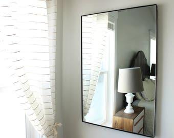 Large Modern Wall Mirror Bathroom Vanity Decorative Industrial Rectangle  Steel Framed Frameless Metal Black White Steel Finish
