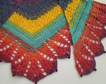 Triangle colorful shawl with black glass beads