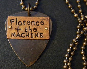 Florence and the Machine Mixed Metal Guitar Pick Pendant and Altered Natural Brass Ball Chain Necklace