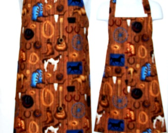 Daddy and Me Apron, Matching Aprons, Horse Apron, Western Theme Apron, Cowboy, Customize With Name, No Shipping Fee, Ready To Ship TODAY 849