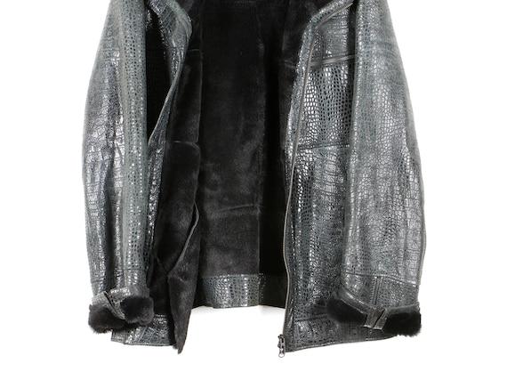 jacket structured jacket jacket black 80s outerwear leather jacket winter lambskin shiny leather leather qIHFnwCp