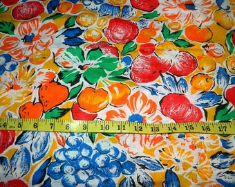 Colorful Flowers and Fruit Fabric - Wamsutta OTC Div of M Lowenstein Corp