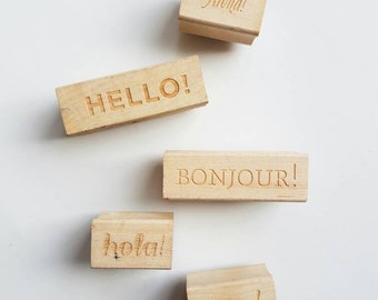 Greetings Rubber Stamp - Aloha, Ciao, Bonjour, Hello & Hola