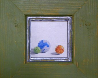 oil painting, art original, realism, trompe l'oeil, marbles miniture by ann osenga